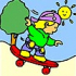Children and skateboard coloring
